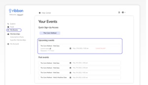 screen snapshot of Ribbon my events page